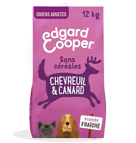 Edgard & Cooper Croquettes Chien Adulte Sans Cereales Nourriture Naturelle 12kg Chevreuil et Canard Frais Hypoallergénique, Alimentation saine savoureuse et équilibrée, Protéines de qualité supérieure