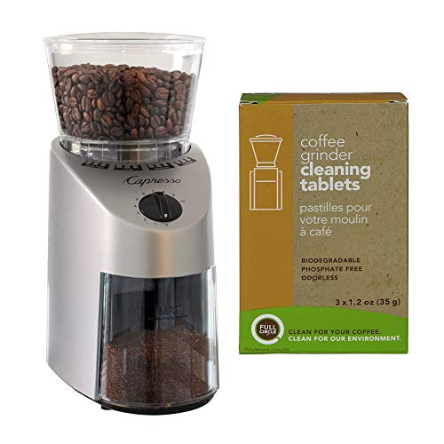 Capresso 560.04 Infinity Conical Burr Coffee Grinder with Urnex Full Circle Biodegradable Cleaning Tablets (2 Items)
