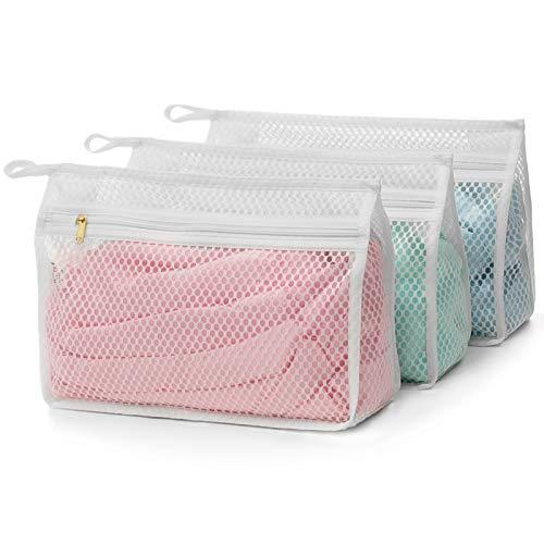 TENRAI 3 Pack Delicates Honeycomb Mesh Laundry Bag with YKK Zipper Lingerie Hosiery Socks Bra Baby Products Fine Knitwear Mesh Wash Bags 3 Small