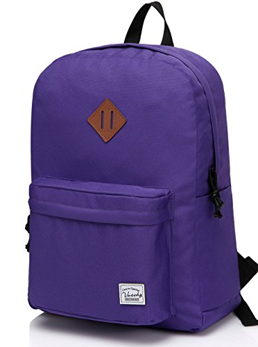 Lightweight Backpack for School, VASCHY Classic Basic Water Resistant Casual Daypack for Travel with Bottle Side Pockets (Purple)