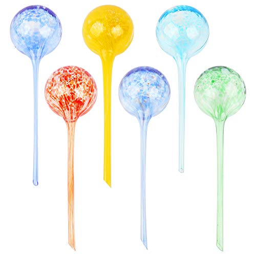 SZUAH Plant Watering Globes, 6 PCS Large Automatic Glass Watering Bulbs, Multicolored Decorative Garden Watering Cans Glass drip Ball Automatic Watering System for Indoor Outdoor