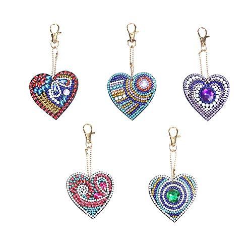 5pcs/Set DIY Love Heart Full Drill Special Shaped Diamond Painting Keychain