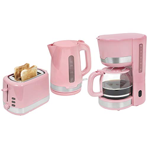 Exquisit Frühstücksset FS 7102 ppi 2 Scheiben Toaster | Wasserkocher | Teekocher | Kaffeemaschine | Kaffeeautomat | Pastell-Pink, pastellpink