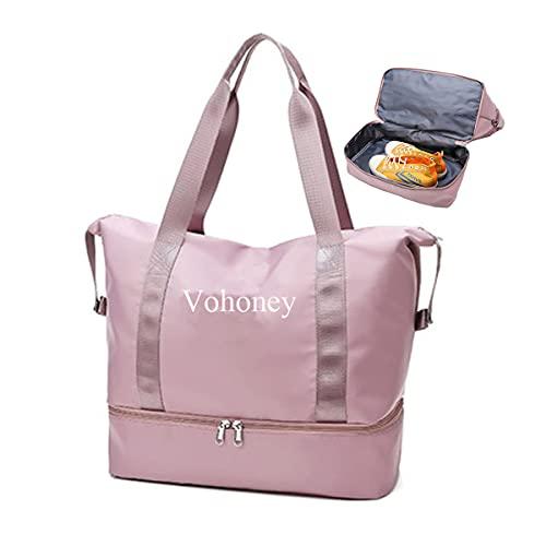 Bolsa de viaje ligera plegable con compartimento para zapatos, equipaje, portátil, maleta, cabina grande, para fin de semana, bolsa de playa, bolsa ligera e impermeable, Rosa Bolsa de deporte, large,