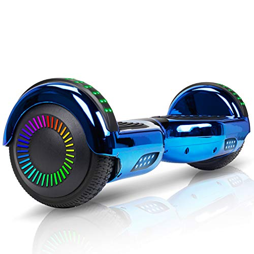 Benedi Hoverboard Two-Wheel Bluetooth Spealer Hover Board UL2272 Certified Self Balancing Scooter with Bluetooth Speaker 6.5' Flash Wheels - Chrome Blue