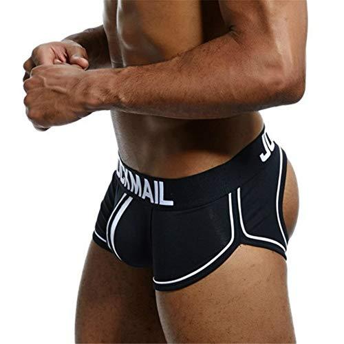 JOCKMAIL Sexy Herren Boxershorts Jockstrap Männer Sexy Unterwäsche Rückenfreies Gesäß Herren Strings Schwule Unterwäsche (XL, Schwarz)