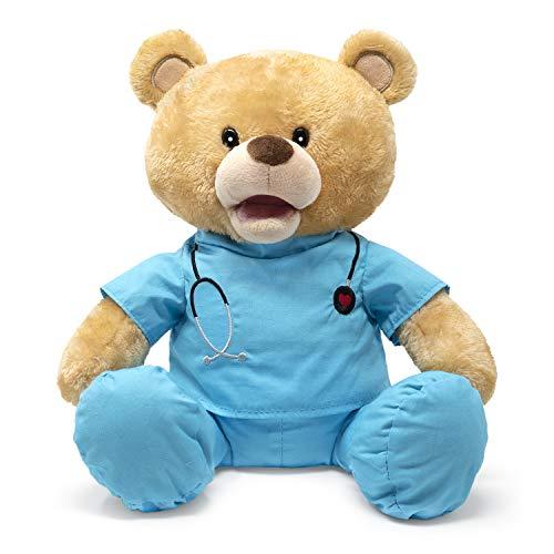 Product Image 1: Cuddle Barn | Feel Good Glenn 10″ Bear Animated Stuffed Animal Plush Toy | Teddy Bear in Blue Scrubs Sings I Feel Good