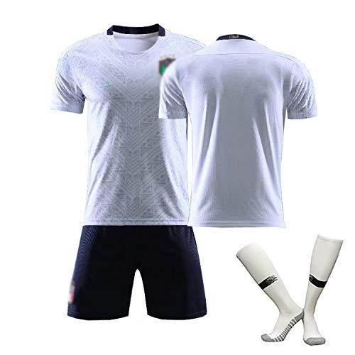 CHSC # 21 Pirlo # 3 Maldini # 1 Buffon Fußball Trikot Trainings uniform Set Italien Weg Kinder Herren Sportswear (Kurzarmshorts) White-16