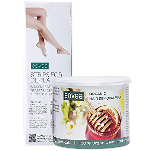 BEWO EOVEA Organic Hair Removal Wax (700g) with Waxing Strips, Hair Remover Wax for Women, Body & Face Waxing, 100% Natural Ingredients, No Artificial Colors & Preservatives