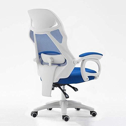 Silla de juego Silla de oficina Silla de juego, ergonomía doméstica Silla de computadora, silla giratoria de malla, silla de reposapiés, silla de personal, silla de refuerzo de nylon, bracket blanco -