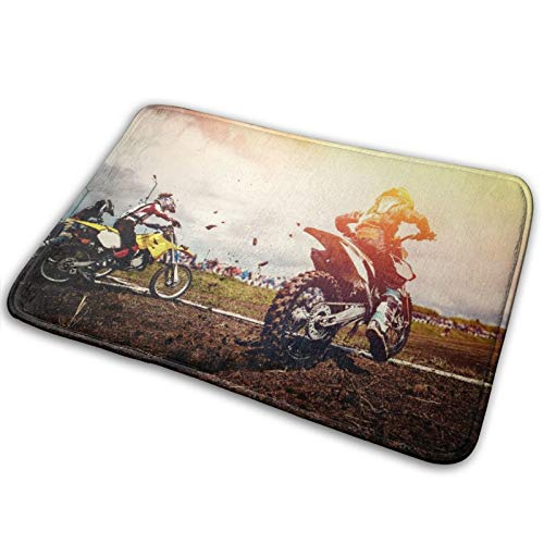 Microfiber Bath Mat Rug,Motorcycle. Team Athletes On Mountain Bike Motorcycles On Motocross Start,Bathroom Rugs Carpet Non Slip,29.5' X 17.5'