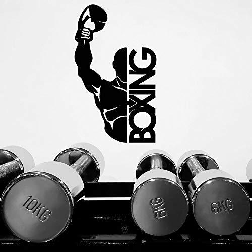 NSRJDSYT Calcomanía de Prueba de Palabras de Boxeo y Boxeo, Arte de Pared, Pegatina Deportiva de Boxeo para el hogar y decoración de Gimnasio de Boxeo, extraíble 57x93cm