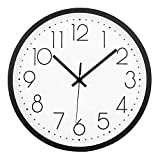 Filly Wink Modern Wall Clock Silent Non-Ticking Sweep Movement Battery Operated Easy to Read Home/Office/School Clock 12 Inch White