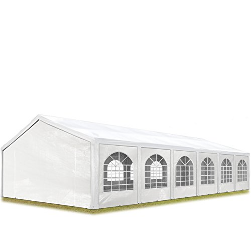 TOOLPORT Hochwertiges Partyzelt 5x12 m Pavillon Zelt ca. 240g/m² PE Plane Gartenzelt Festzelt Wasserdicht weiß