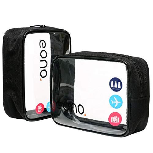Eono by Amazon - Durchsichtiger Kulturbeutel, Clear Toiletry Bag, Kosmetiktasche für Koffer, Transparente Toilettentasche Unisex, Wasserfest Waschbeutel für die Dusche Organizer, Schwarz, 2 Pcs