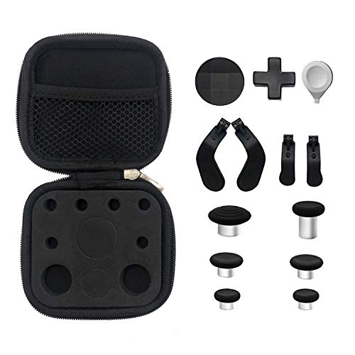 E-MOD Gaming 13 in 1 Metal Thumbsticks, D-Pads and Paddles with Tools for Elite Series 2 Controller Xbox One - Black
