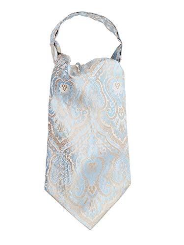 WANYING Herren Krawattenschal Ascotkrawatte Schal Cravat Ties Einfach Schick für Gentleman - Gold & Hellblau & Weiß
