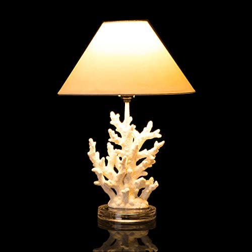 Glitzhome 19 29 H Coral Novelty Table Lamp Farmhouse Marine Design with White T C Shade Neutral product image