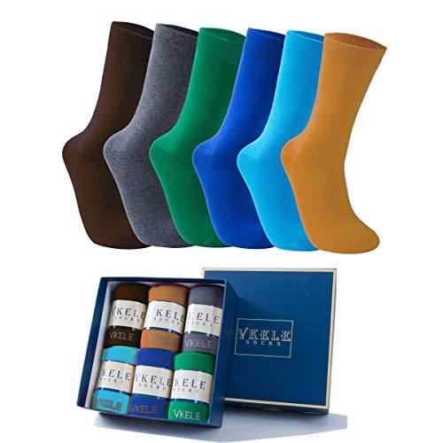 Vkele 6 Paar einfarbige Socken Geschenkpack, Ideal als Valentinsgeschenke, bunte Herrensocken, Baumwolle, Crew Socken, Dunkelgelb, Braun, Grau, Grün, Hellblau, blau, 43 44 45 46