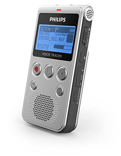 Philips Voicetracer Audiorecorder DVT1300, optimiert für Gespräche, MP3-Stereoaufnahmen