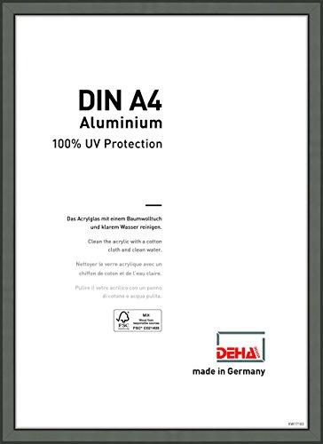 DEHA Aluminium Bilderrahmen Boston, 21x29,7 cm (A4), Contrastgrau