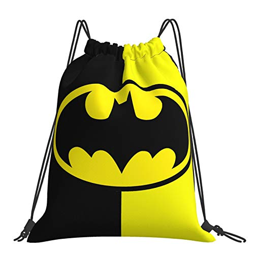 Batman Beach Bag Black-Yellow Drawstring Backpack Water Resistant String Bag Superhero Sports Sackpack Gym Sack for Men Women
