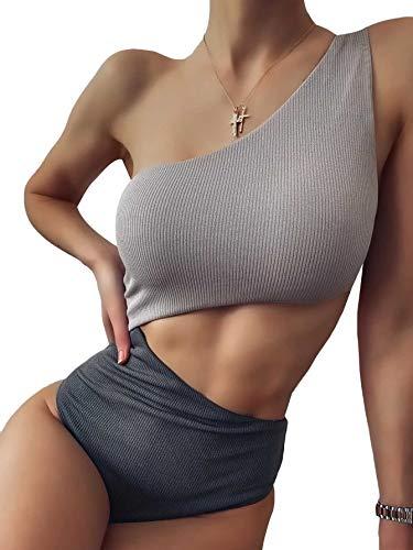 Verdusa Women's One Shoulder Two Tone Colorblock Monokini One Piece Swimsuit Grey L