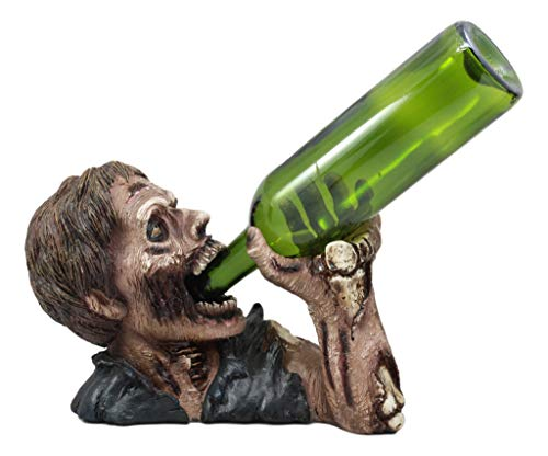 Ebros Spooky Walking Undead Zombie Drinking Elixir of Life Wine Bottle Holder Caddy Figurine As Halloween Party Hosting Storage Organizer Prop Kitchen Cellar Home and Dining Decor Sculpture