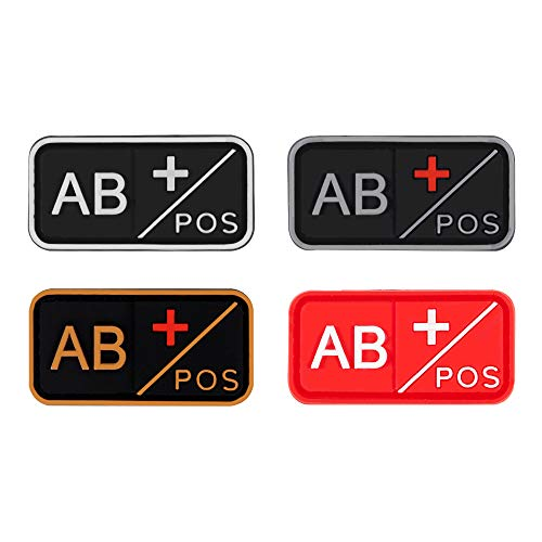 D-FLIFE Blood Type Patch Kit 3D PVC A+ B+ AB+ O+ Positive A- B- AB- O- Negative Rubber Fastener (AB+)