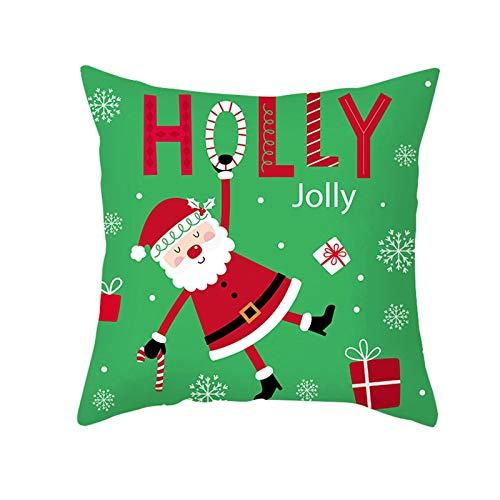 ANAZOZ Funda Cojines 45x45 Salon,Fundas de Cojines de Poliéster Fundas de Cojines Holly Jolly Papá Noel Rojo Verde