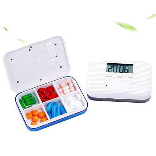 YRX Portable 6 Girds Pill Organizer Case Medicine Storage Dispenser Digital Alarm Reminders Tablet Pill Box Medical Tools Holder,Blue