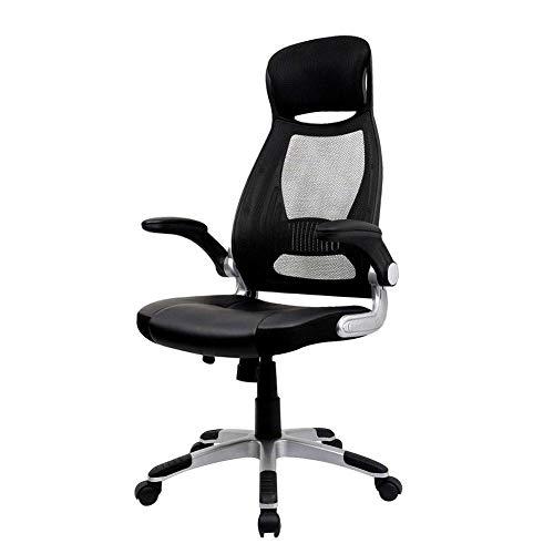 EFVFG puede soportar 150 kg de malla giratoria silla de ordenador de oficina con reposacabezas Silla ejecutiva Mecanismo ergonómico Sincronizado altura ajustable, negro