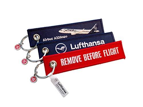 "Portachiavi ""Lufthansa"" – Airbus A320neo/Remove Before Flight – Set da 3"