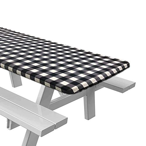 Accgz Picnic Table Fitted Tablecloth Cover for 6 ft Rectangle Table, Polyester Material Checkered Design,Waterproof Elastic Table Cover Fits 30'x72' Folding Table