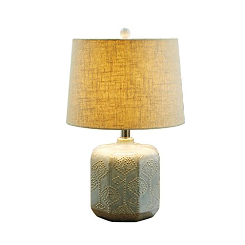LEGELY Antique lampe de table en céramique fait à la main, lampe de chevet de chambre d'hôtel, abat-jour en tissu fait à la main de lin naturel, E27 abat-jour de couleur blanche beige en option ( Couleur : Beige )