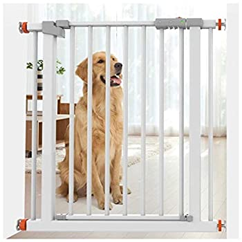 Garde-corps extensible Pet Door Bar à pied à travers Dog Fermeture Balustrade fermeture automatique Sécurité Barrières for les escaliers extra large chien Clôture d'intérieur Chien Cage Barrière Rampe