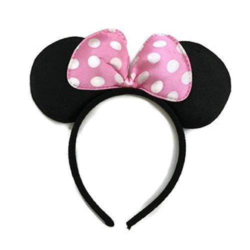 Hoofdband met oren - roze strik - witte stippen - accessoires - jurk - muis - vrouw - meisje minnie
