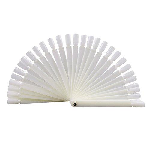 Herramienta de práctica en forma de abanico blanco para pintura de uñas (100 unidades)