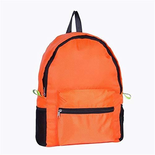 Yi-xir Mochila de viaje impermeable de nailon con diseño de moda, para montañismo exterior, mochila plegable con entramado de diamante, ligera y duradera (color: naranja, tamaño: A)