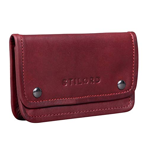 STILORD 'Kingston' Tobacco Case Turner Bag Leder Vintage Tabaketui Lederen accessoire als Turner Bag Hoofdtelefoonzak met filter compartiment en bladhouder, Kleur:rosso