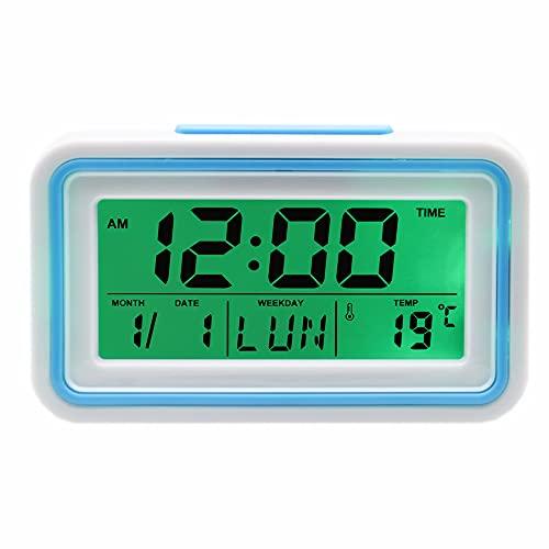 Reloj Despertador Parlante en Español, Alarma LCD con Voz, Reloj Hablando,Muestra Hora, Temperatura -Ciegos o Baja Visión (Azul)