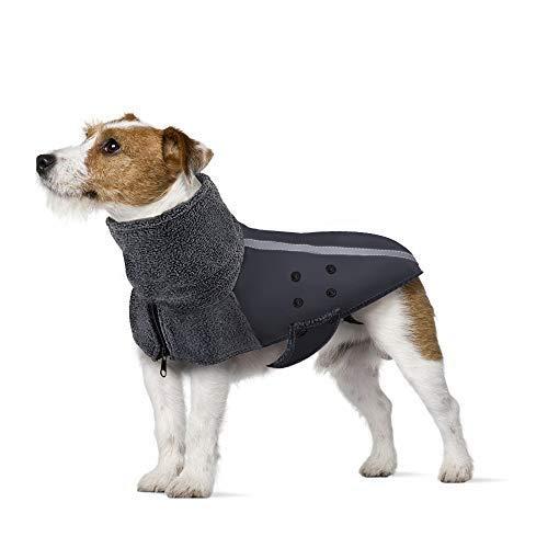 PetyHope cachorro color azul forro polar reflectante Abrigo impermeable cortavientos para perro