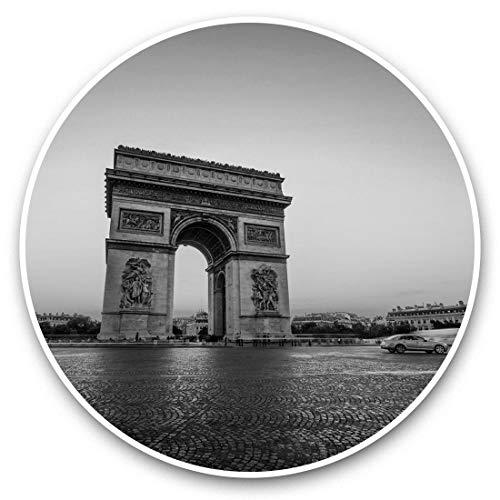 Impresionantes pegatinas de vinilo (juego de 2) 15 cm (bw), diseño de Arco del Triunfo de París Francia para portátiles, tabletas, equipaje, libros de chatarra, frigorífico, regalo genial #38861