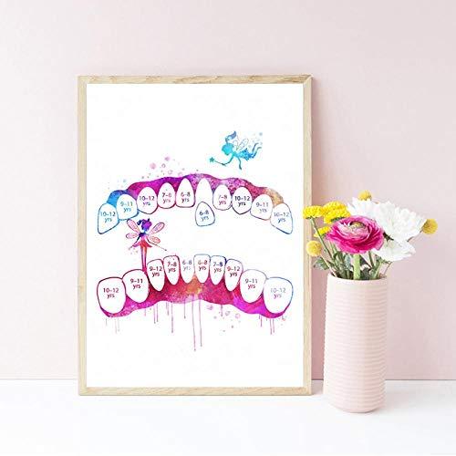 LLXHGDiente Dental Dentista Carteles E Impresiones Medicina Arte Pintura Acuarela Cuadros De Pared para Clínica Dental Doctor Oficina Decoración-40X50Cm Sin Marco