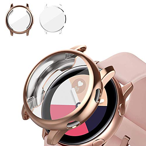 [2 Pack] UMTELE Compatible for Samsung Galaxy Watch Active Case, TPU Screen Protector Scratch-Resist Frame Protective Cover for Samsung Galaxy Watch Active(Clear+Rosegold)