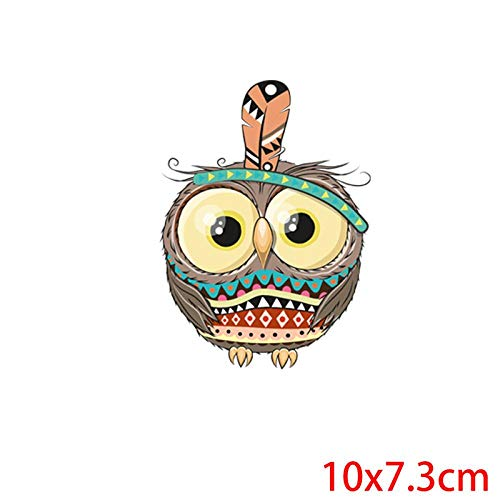 5×Parches de transferencia térmica Adecuado para chaquetas, camisetas, jeans, sombreros, ropa, estilo búho tonto de dibujos animados