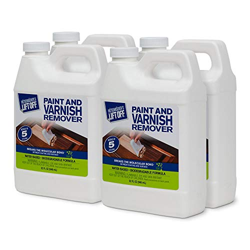 Motsenbocker's Lift Off 41132-4PK 32-Ounce Paint and Varnish Remover for Wood Stain, Solvent Paint, Lacquers, Polyurethane Works on Cabinetry, Furniture, Wood and More Water-Based and Biodegradable