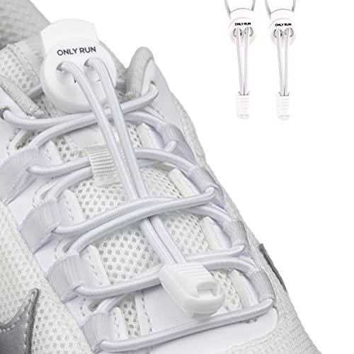 ONLY RUN Elastische Schnürsenkel ohne Binden mit Schnellverschluss perfektes Schnellschnürsystem für Kinder und Erwachsene - Schuhbänder - Gummischnürsenkel ohne Binden (1 Paar pure weiß)