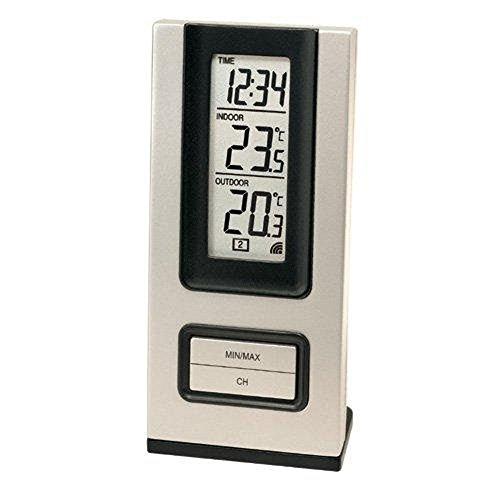 Technoline WS 9117-IT klassische Wetterstation mit Uhrzeit, Innen- und Außentemperaturanzeige, inklusive Außensensor TX29-IT Übertragungsfrequenz 868 MHz,, silber-blau/grau, 5,8 x 2,3 x 12,5 cm