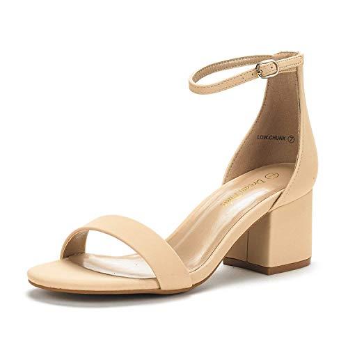 DREAM PAIRS Women's Low-Chunk Nude Nubuck Low Heel Pump Sandals - 9 M US